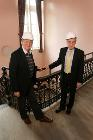 Cllr Ashton and Mike Bull inside Victoria Hall