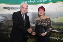 Cllr Ashton with Volunteer of the Year Helen Thornhill