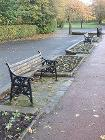 Vandalised benches at Manor Park